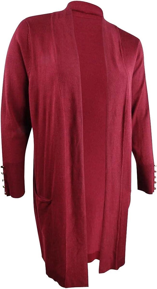 JM Collection Women's Plus Button-Sleeve Flyaway Cardigan (3X, Cherry Pie)