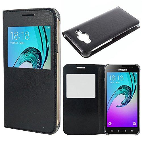 Samsung Galaxy J3 (2016) custodia HCN PHONE cover vibrazione vista copertura custodia per Samsung Galaxy J3 (2016) - NERO