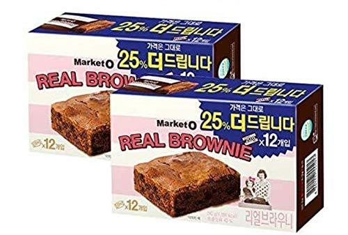 MarketO リアル ブラウニーx2箱(20g×12個入り)/ブラウニー/パン/ケーキ/チョコケーキ/抹茶/お菓子/韓国お菓子/おやつ/おみやげ/プレゼント