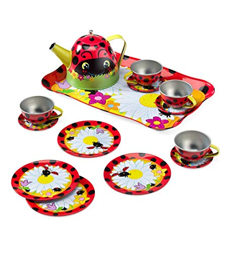 HearthSong Exclusive 15-Piece Ladybug-Themed Tin Tea Set with Carrying Case