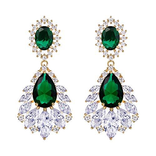 Pendientes de Mujer - Clearine Aretes Cierre de Clip en Forma de Flores Lágrims, Estilo Retro Precioso Cristales para Boda Novia Fiesta Verde Tono Dorado
