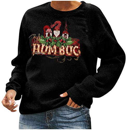HFStorry 2020 New Ladies Stylish Pullover Hoodied Sweatshirts Casual Crewneck Ladies Christmas Sweatshirt Tops