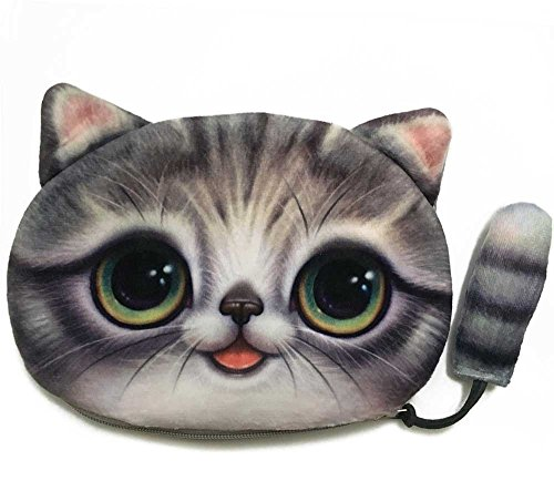 Big Eyed Cat Wallet with a Tail | Lovely Kitty Head Purse with a Tail Zipper Closure Handbag