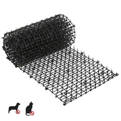 Cat Scat Mat with Spikes, 2.2cmx 28 cm x 2m Prickly Belt Plant Protection Net to Prevent Cats and Dogs from Digging in Outdoor Garden Farm Fences,Cat Fence Spikes Black