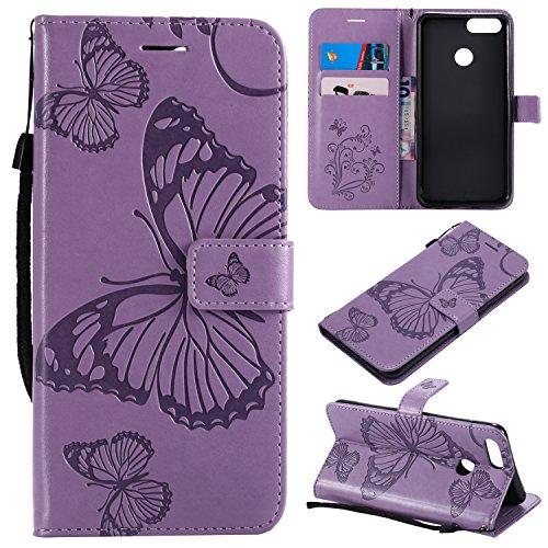 Hülle für Huawei Honor 7X Hülle Handyhülle [Standfunktion] [Kartenfach] [Magnetverschluss] Tasche Flip Case Cover Etui Schutzhülle lederhülle klapphülle für Huawei Honor 7X - DEKT040836 Lila
