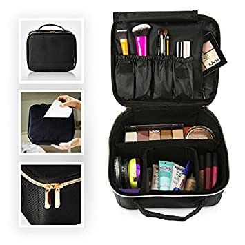 Travel Makeup Bag Designer Cosmetics Bag With Rose Gold Zipper Makeup Case And Toiletry Bag Train Case Make Up Bag For Women Cosmetics Organizer For Traveling Beauty