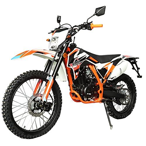 X-PRO Titan DLX 250cc Gas Dirt Bike Pit Bike Adult Bike,Big 21″/18″ Wheels, Zongshen Engine! (Orange)