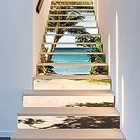 13ピースクリエイティブシミュレーション3d海ココナッツドアのステッカー取り外し可能な階段ステッカーファッションのアイデアアートの装飾壁布18 * 100センチ