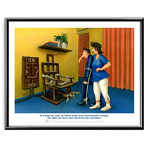 Veit`S Bilder Wandbild Cartoon Physiotherapie Reizstrom Schmerztherapie - neulich ganz günstig bei Ebay ersteigert! (Klein 24x30ohne Rahmen)