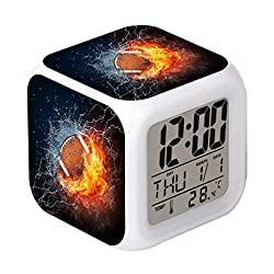 Cointone Led Alarm Clock Rugby Football Fire Sport Design Creative Desk Table Clock Glowing Electronic Colorful Digital Alarm Clock for Unisex Adults Kids Toy Birthday Present