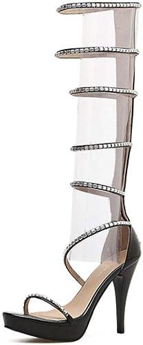 WHL.LL Femmes Rome Stylet Bottes cool, Plateforme étanche Brillant Strass Tube haut Sandales, VêteHommests pour femmes Short Sandales (Hauteur Talon  12 cm)