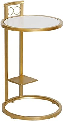 Lcxliga Marble Tabletop Side Table/End Table for Small Spaces Snack Table Modern Coffee Table Living Room Furniture,