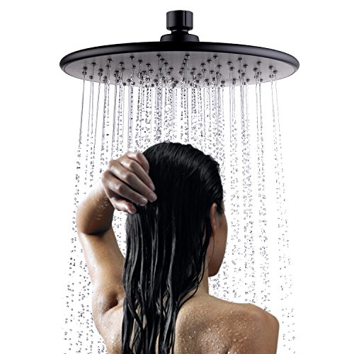Hpbge Shower Head - High Pressure Fixed Mount Top Ceiling Rainfall Style for Bathroom (Matt Black)