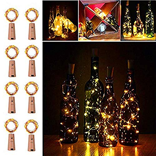 LiyuanQ 20 LED Wine Bottle Cork Lights Copper Wire String Lights, 8 Pack 2M/7.2FT Battery Operated Wine Bottle Fairy Lights Bottle DIY, Christmas, Wedding Party D