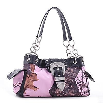 Licensed MOSSY OAK Camouflage Shoulder Bag Rhinestone Buckle Handbag