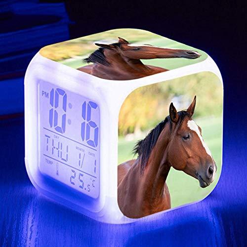 HUA5D Despertador Digital Caballo Infantil Regalos De Cumpleaños Wake Up Light Alarm Clocks Niño & Niña Dormitorio Decorar-Niños 7 Color Cambiante Luz Nocturna Lampara De Cabecer(B171)