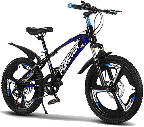 Bicicleta de montaña ajustable para niños de 7 a 14 años y niñas de 18 pulgadas, color rojo azul_18 pulgadas
