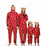 Yaffi Family Matching Pyjamas Christmas Festival Onesie One Piece s Deer Hooded Jumpsuit