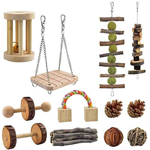 Y-POWER 12 piezas naturales pequeñas mascotas masticables Swing Juguetes de hámster de madera animales roer dientes molar juguetes para conejo hámster