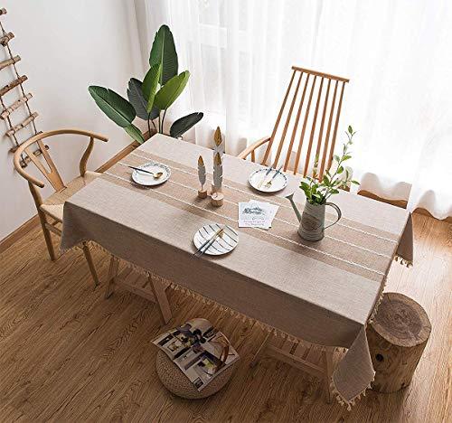 Tenrany Home Baumwolle Leinen Rechteckig Tischdecken Stoff mit Quaste Edge Waschbar Modern Tischdecke für Küche Esstisch Couchtisch Tuch Dekoration (Leinen Fransen, 140 * 240 cm)