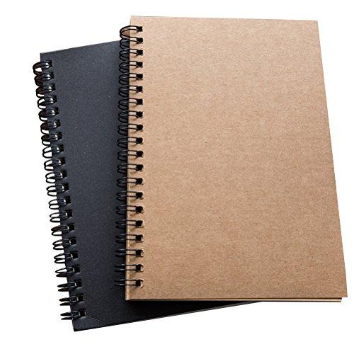 TOYMYTOY Quaderno Spiralato Spiral Notebook Quaderni spirale,Pagina Bianca,Pacco da 2 Pezzi,18 x 12 cm (Nero+carta)