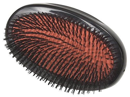Boar Bristle - Small Extra Military Pure Bristle Medium Size Hair Brush (Dark Ruby) - 1pc