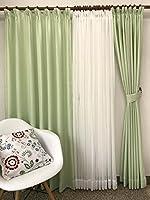品番2657 4枚組カーテン (巾100cmx丈135cm 4枚組, グリーン)