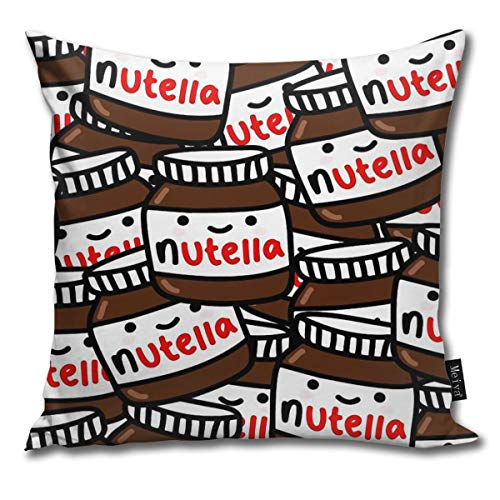 QMS CONTRACTING LIMITED Throw Pillow Cover Cute Nutella Decorative Pillow Case Home Decor Square 18x18 Inches Pillowcase