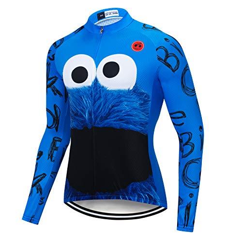Men's Long Sleeve Cycling Jersey Biking Shirts Breathable Bike Tops Bicycle Eye Blue M