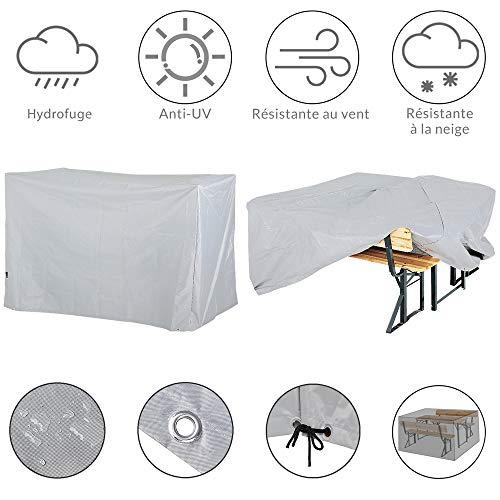 Kingsleeve Funda Protectora para Muebles de jardín mesas sillas 180x135x82cm de 420D Oxford Color Antracita