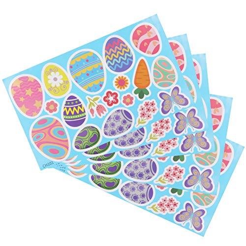 PRETYZOOM 5 Stück Ostern Wandaufkleber Osterhasen Ei Wandtattoos Fenster Klammert Kühlschrank Wandtüren Aufkleber für Ostern Home Party Dekoration Stil 1