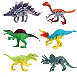 FLORMOON Dinosaur Toy - 6pcs Plastic Realistic Dinosaur Figures Include Stegosaur, Suchomimus, Tyrannosaurus Rex, Spinosaurus, Triceratops, Therizinosaurus - Birthday Cake Decor for Kids(Colorful A)
