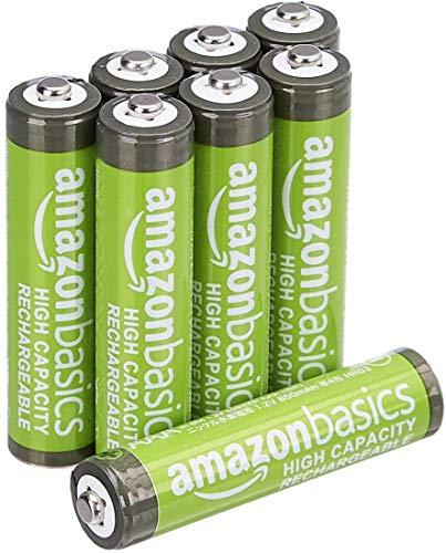 AmazonBasics - Pilas AAA recargables de alta capacidad, precargadas, paquete de 8 (el aspecto puede variar)