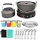 Utensilios de cocina de camping Senderismo Pot kit de picnic al aire libre Juego de utensilios de cocina, herramientas para herramientas con mochila al aire libre 22PCS