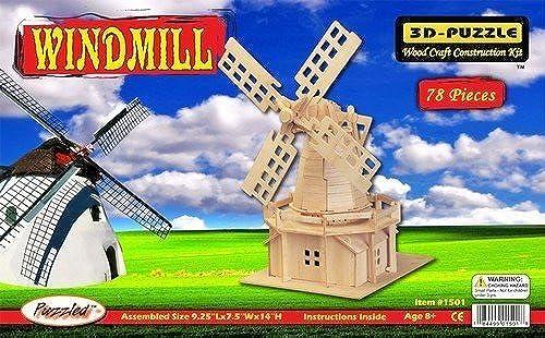 ventas en linea Puzzled 1501 Windmill 3D Natural Wood Puzzle Puzzle Puzzle - 78 Pieces by Puzzled  edición limitada en caliente