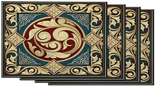 aipipl Juego de 4 manteles Individuales barrocos Art Deco ornamentados Dorados, Antiguos, Cuadrados, Brillantes, clásicos Florales, para Mesa de Comedor, Lino de algodón de 12 x 18 Pulgadas para la