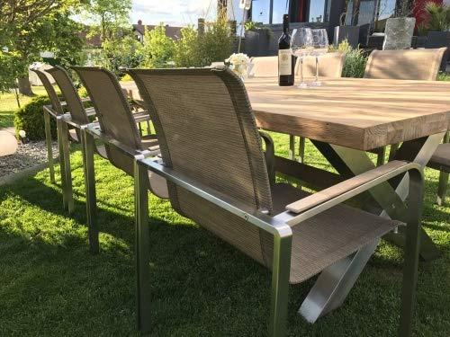MEINiShop Sitzgruppe Mai.Lo Esstisch 240 cm Old Teak/Edelstahl Auswahl Tisch mit 10 Stühlen