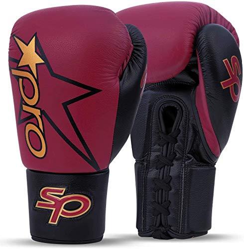 Starpro Premier geschnürte Boxhandschuhe | Premium Rindsleder | Kastanienbraun & Schwarz | Für professionelles Training & Sparringboxen, Muay Thai Kickboxen | Männer & Frauen | 8oz 10oz 12oz 14oz 16oz