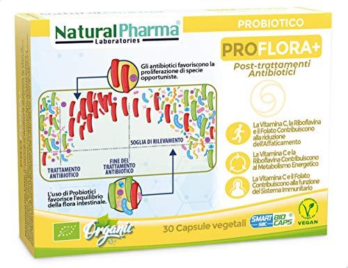 NaturalPharma Probiotico Biologico ProFlora+. Riparazione dei Danni causati dagli Antibitici. Vitamina C + Vitamina B2 + Folato. Capsule Smart Biocaps®. (Senza Glutine & Lattosio).