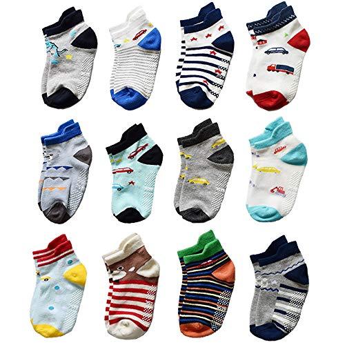 Yafane 12 Paar Baby Socken Jungen Antirutsch Baumwolle Anti-Rutsch Kinder Kleinkinder Neugeborenes Babysocken 0-5 Jahre (3-5 Jahre)