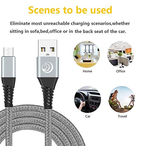 Yosou Micro USB Kabel [3Pack 2M] Ladekabel Android Nylon Handy Schnellladekabel Datenkabel für Samsung Galaxy S7 S6 S5 J7 J5 Note 5, Huawei, HTC, Sony, Tablets, Xiaomi, HTC, Motorola, Nokia, PS4