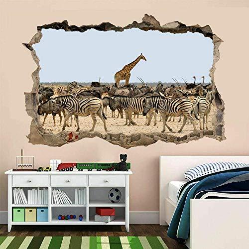 MXLYR Pegatinas de pared Jirafa Zebra Zoo Animal Wall Art Sticker Mural Kids Wallpaper
