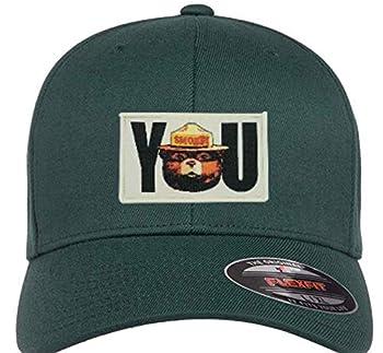 "Smokey The Bear Mens Real Flexfit Hat with Smokey Bear You Woven Patch  Green L/XL  7 1/8"" - 7 5/8"""