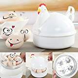 XIDAJIE Egg Cooker Poacher Chicken Microwave Egg Cooker Poacher Boiler Boil Steamer Kitchen Tool 4 Eggs for Soft, Hard Boiled or Poached Eggs