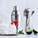 MoYouno 5 Stück Cocktailherstellungsset,Cocktail Set,Cocktail Shaker 550ml,304 Edelstahl Bar Tool Set Barkeeper Kit,Cocktail Set,Cocktail Geschenkset