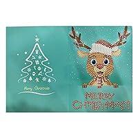 メッセージカード メリークリスマスカードDIY絵画手作りカードラウンドドリルグリーティングカードラインストーン刺繡工芸品ギフトクリスマス用品 子供 誕生日 新年 (Size:260 X 180mm; Color:6)