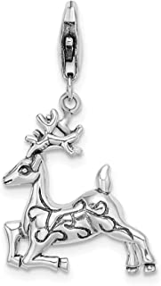 925 Sterling Silver Rh 3 D Reindeer Lobster Clasp Pendant Charm Necklace Animal Deer Holiday Fine Jewelry Gifts For Women For Her