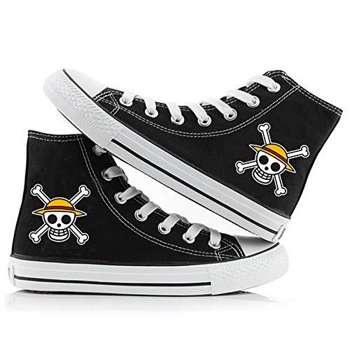 eaodz One Piece High-Top Canvas Shoes Zapatillas para Hombre Canvas Shoes Anime Cosplay Unisex Lona Zapatos de Lona