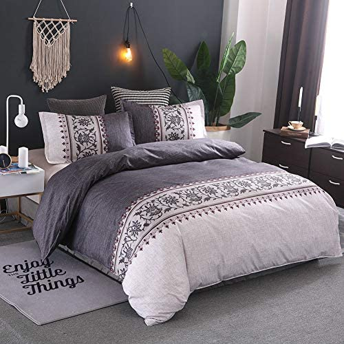 mixinni Sliver Grey Duvet Cover Set King Red Gray Floral Pattern Printed Bedding Set with Zipper product image