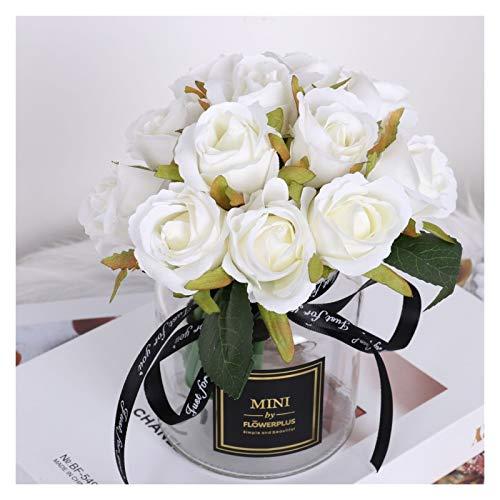 Gefälschte Blume 12 Köpfe Künstliche Seide Rose Blumen Blumenstrauß Weiß Rosa Rot Für Hochzeit Braut Party Home Garten Dekoration Blume (Color : H06)